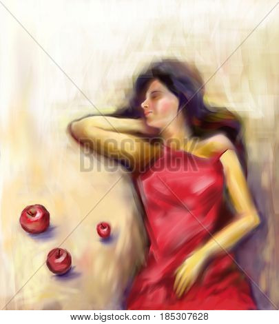 The digital canvas Thoughts about you, which depicts a sleeping young girl in a bright red nightgown