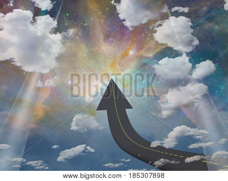 Road in arrow shape leads to the space.   3D rendering  Some elements provided courtesy of NASA