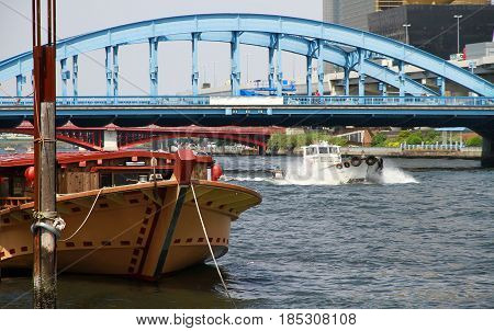 A view of the ship of the Sumida River in Tokyo, Japan