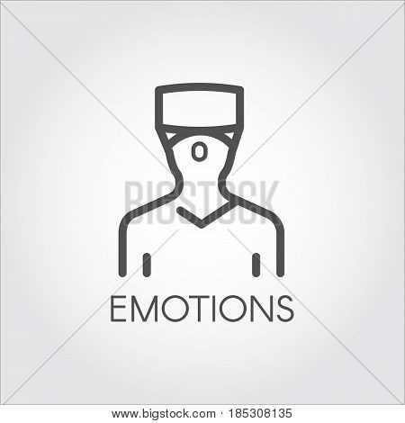 Black flat simple icon in style line art. Outline symbol with stylized image of a new technology device, man in helmet virtual reality. Stroke vector logo VR tour. Mono linear pictogram web.