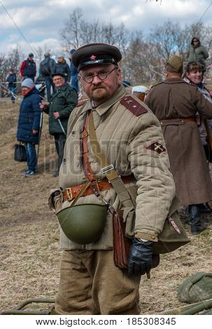 Gatchina, Russia - May 7, 2017: Historical reconstruction of the battles of World War II. A participant in the reconstruction in the form of a Soviet artillery officer.