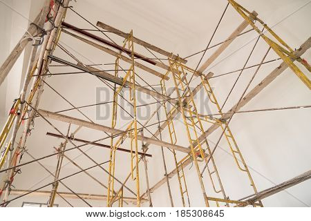Scaffolding for construction job. It's made us easy to climbing onto a parts of the building.