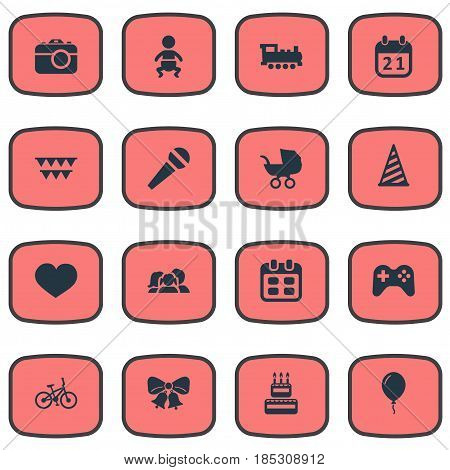 Vector Illustration Set Of Simple Holiday Icons. Elements Camera, Resonate, Domestic And Other Synonyms Resonate, Jingle And Schedule.