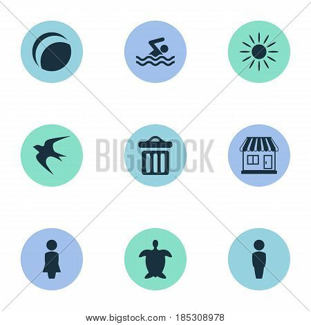 Vector Illustration Set Of Simple Beach Icons. Elements Swimming Man, Garbage, Male And Other Synonyms Store, Tortoise And Swimming.