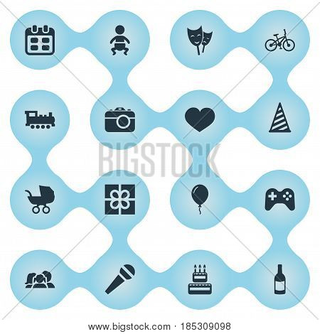 Vector Illustration Set Of Simple Holiday Icons. Elements Soul, Baby Carriage, Game And Other Synonyms Theater, Beverage And Fizz.