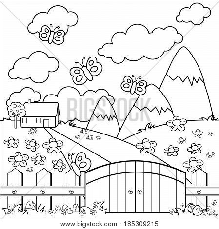 Small country house, meadow and wooden fence. Black and white coloring book page.
