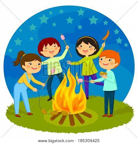 Happy kids having a bonfire roasting marshmallows and potatoes