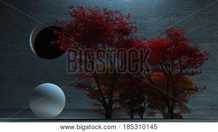 3d render. Cute trees.   3D rendering