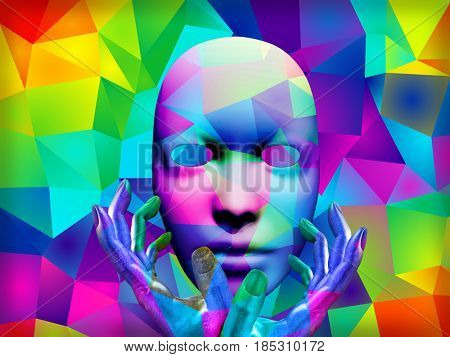 Mask with colorful kaleidoscopic pattern and human's hands.   3D rendering