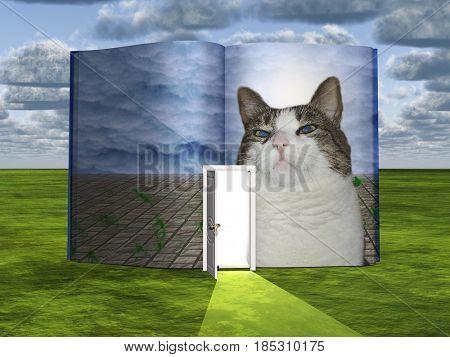 Surrealism. Book with opened door and proud cat.   3D rendering