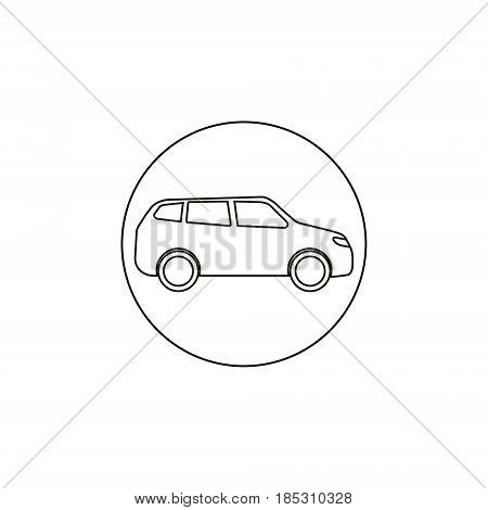 vector flat car icon outline balck lined car simple