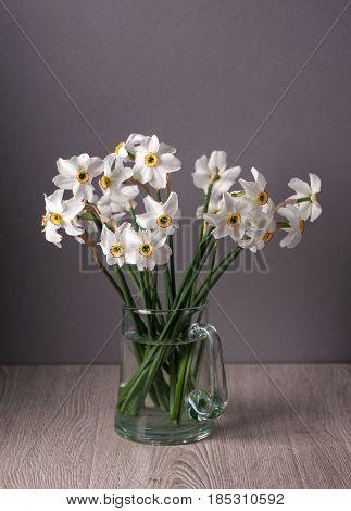Still life with daffodils. Fresh daffodils in vase.