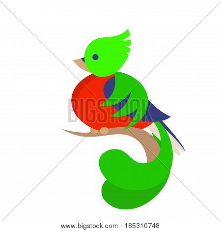 Vector cute stylised quetzal bird simple flat logo isolated on white background
