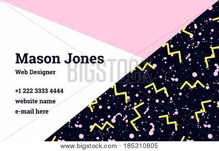 Fashion business card template in the style of Memphis. A perfect combination of pink, yellow and black. A pattern of yellow zigzags and black smudges or splatters of paint. Funky design.