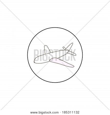 Airplane vector outline icon black line simple plane icon on whote background
