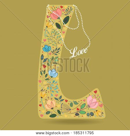 Yellow Letter L with Folk Floral Decor. Colorful watercolor flowers and plants. Small hearts. Graceful pearl necklace with text Love. Vector Illustration