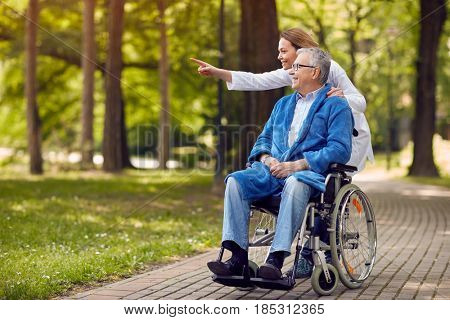 nurse showing something to elderly man on wheelchair in the park