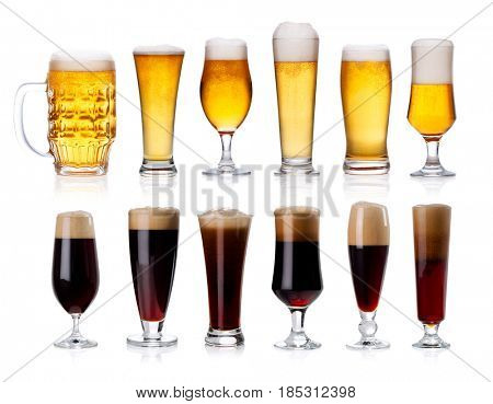 set of mugs and glasses with light and dark beer isolated on white background