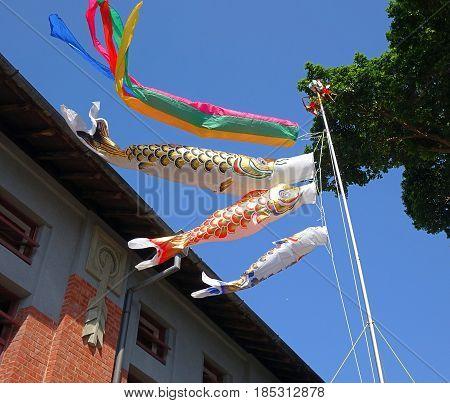 Traditional Koinobori streamers in the shape of fish to celebrate Children Day