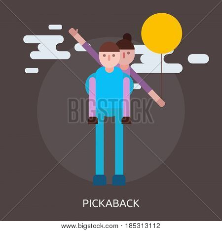 Pickaback Conceptual Design | Great flat illustration concept icon and use for valentine, romance, holiday and much more.