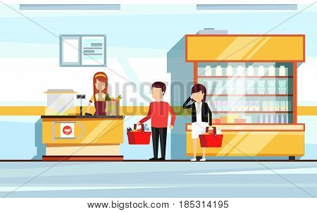 Saleswoman in supermarket interior. People standing in store checkout line. Vector flat illustration of mall. Store shop interior with shopper