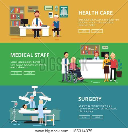 Three horizontal vector banners of healthcare concept pictures. Medical rooms and offices in hospital. Patients and doctors. Web banner medicine concept, illustration of healthcare in medicine clinic