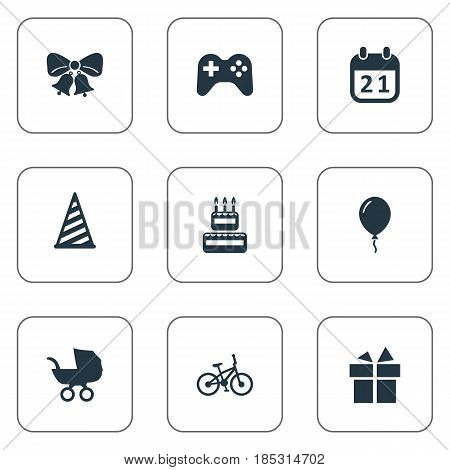 Vector Illustration Set Of Simple Holiday Icons. Elements Special Day, Baby Carriage, Cap And Other Synonyms Calendar, Jingle And Aerostat.