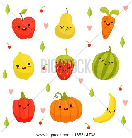 Vector mascot design of cartoon fruits and vegetables. Colored fruit and vegetable characters, happy vitamins drawing fruits illustration