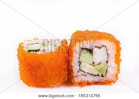 Japanese Cuisine, Sushi Set: Sushi And Sushi Rolls In Caviar With Cucumber, Shrimp, Avocado And Omel
