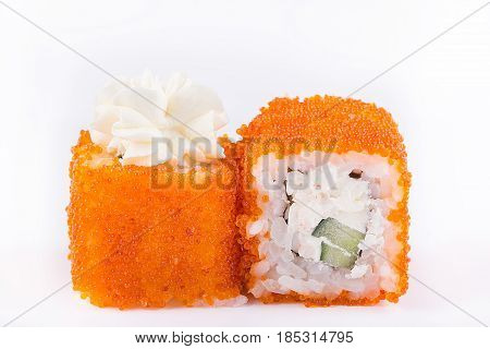 Japanese Cuisine, Sushi Set: Sushi And Sushi Rolls In Caviar With Cucumber, Cheese And Crab Meat On