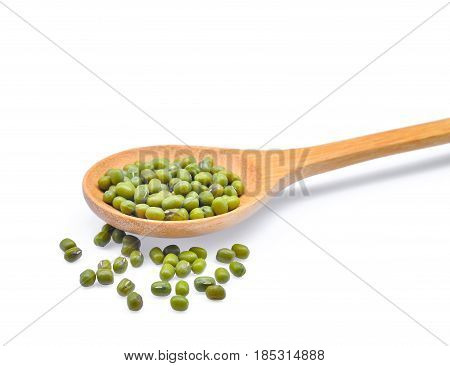 mung bean in wooden spoon isolated on white background