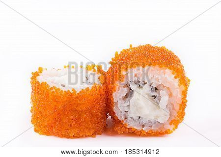 Japanese Cuisine, Sushi Set: Sushi And Sushi Rolls In Caviar With Cheese On A White Background.