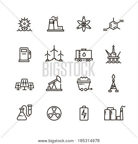 Energy industry and power factory modern industrial vector line icons. Set of power electricity factory, illustration of power energy linear icons