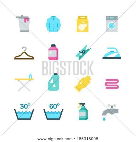 Household washing, drying and laundry vector flat icons. Cleaning and washing service icons, illustration of drying and washing temperature mode