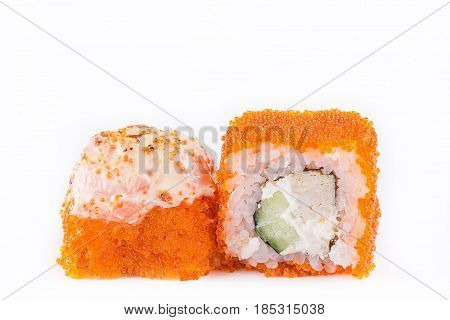 Japanese Cuisine, Sushi Set: Sushi And Sushi Rolls In Caviar With Cucumber, Cheese And Omelette On A