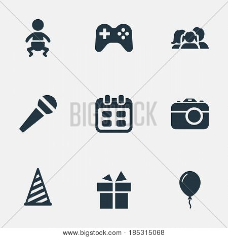 Vector Illustration Set Of Simple Celebration Icons. Elements Days, Infant, Cap And Other Synonyms Infant, Baby And Speech.