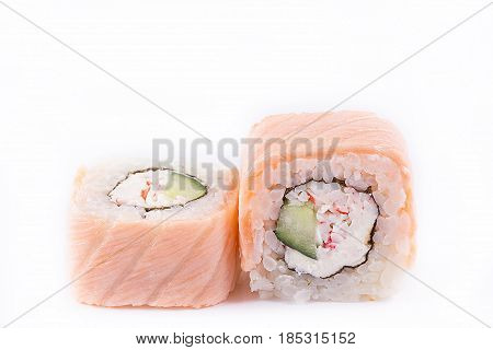 Japanese Cuisine, Sushi Set: Salmon Roll With Cheese, Cucumber And Crab Meat On A White Background