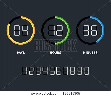 Digital clock or countdown timer. Vector time concept. Countdown timer with days and hours, illustration of countdown clock