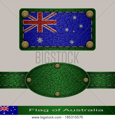 Label of a flag of Australia. Set stylized as leather of objects.