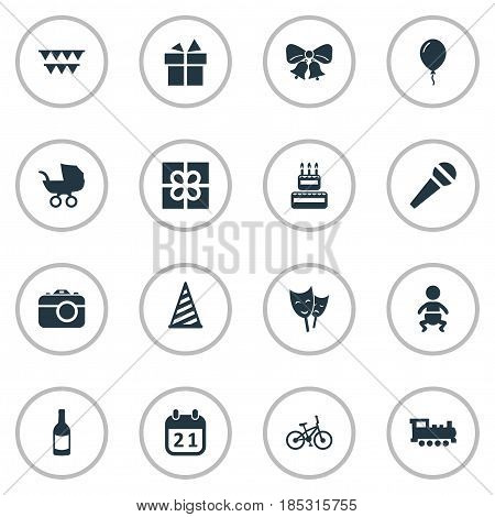 Vector Illustration Set Of Simple Celebration Icons. Elements Ribbon, Cap, Resonate And Other Synonyms Box, Carriage And Sport.