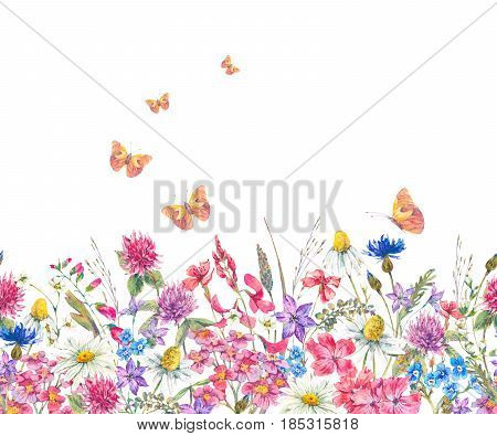 Watercolor natural summer horizontal seamless border with bouquets of wildflowers. Daisies, clover, meadow herbal and butterflies. Botanical floral illustration isolated on white background