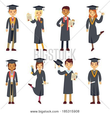 Young college graduate and university students vector characters set. People graduation school or college, illustration students graduate education,