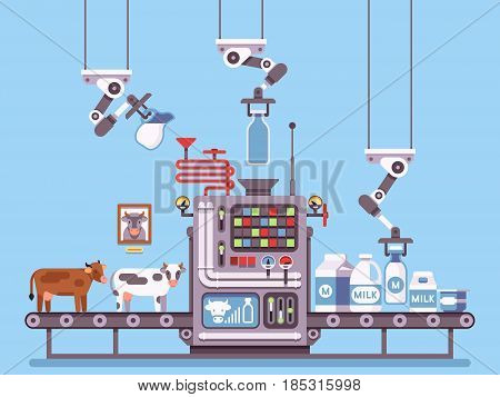 Milk manufacturing, stage processing on conveyor, dairy products industrial management vector concept. Milk industry factory, production line dairy milk illustration