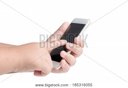 Kid Finger Touch On Black Touchscreen Smartphone