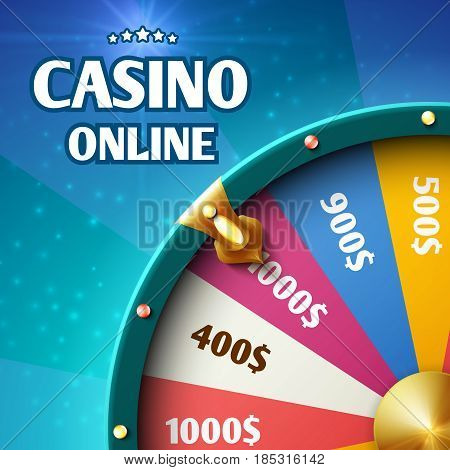 Internet casino marketing vector background with spinning fortune wheel. Casino wheel fortune, illustration of spin wheel lottery