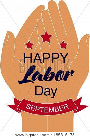 Happy Labor Day Card With Stars And Red Ribbon.