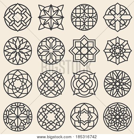 Arabesque ornaments. Vector star logo design template in arabic style. Arabesque element round flower, illustration of pattern frame arabesque