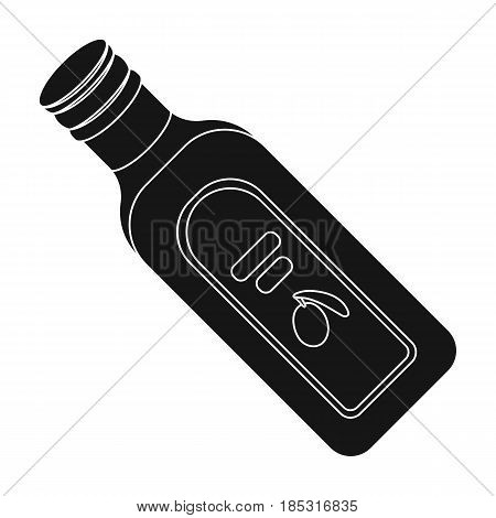 A bottle of olive oil.Olives single icon in black style vector symbol stock illustration .