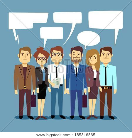 Group of business people talking. Teamwork vector concept with human persons and speech bubbles. Communication people in teamwork, illustration of talking and communicate in team group person