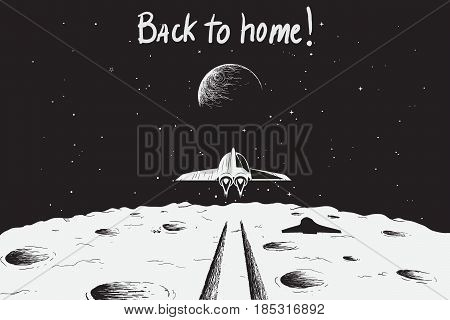 Spaceship back to Earth after mission to Moon.Science theme.Vector illustration